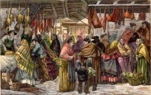 MADRID. LA PLAZA DE SAN MIGUEL (Detalle). Francisco de Pradilla Ortiz (dibujante), La Ilustración Española y Americana, 1881.